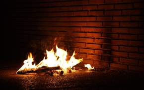 Picture wall, fire, flame, the fire
