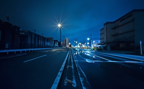 Wallpaper road, asphalt, night, the city, strip, posts, home, lights, containers