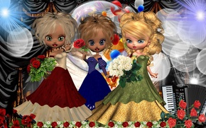 Picture scene, concert, trio, Doll, artists, artists, the trio scene, Dolls concert
