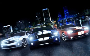 Picture Dodge Challenger, ford mustang, muscle car, Chevrolet Camaro