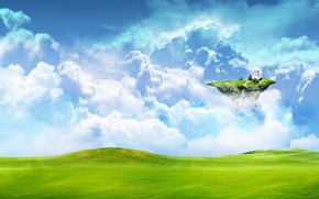 Picture field, clouds, island, The sky