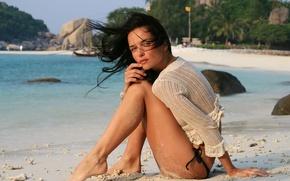 Picture sea, beach, the wind, feet, Jenya D. brunette, hair. look