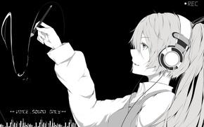 Picture girl, anime, headphones, art, vocaloid, hatsune miku, monochrome, marumoru