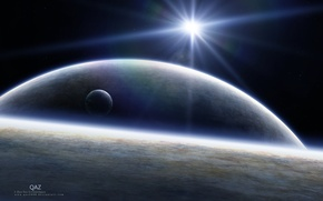 Picture dark, light, science fiction, stars, planets