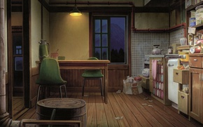 Picture table, chairs, the evening, window, kitchen, art, Kusanagi, products, a large passage room