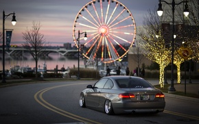 Picture bridge, the city, river, people, branch, street, boats, BMW, Christmas, wheel, Ferris wheel, back, 335i, …
