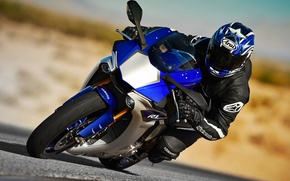 Picture blue, Racer, Superbike, Yamaha YZF-R1