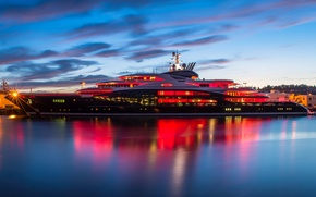 Picture the ocean, the evening, yacht, pierce, twilight, Seattle, Pier 90
