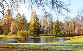 Picture The sun, Autumn, Snow, Pond, The beauty around, Pushkino, Tsarskoye Selo