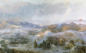 Wallpaper picture, winter, soldiers, The great Patriotic war, infantry, ruins, smoke, Stalingrad, Painting