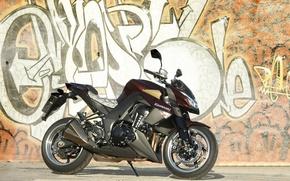 Picture motorcycle, grafiti, kawasaki