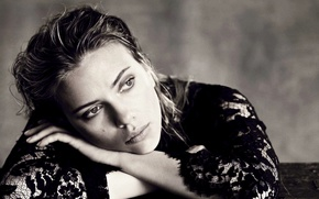 Picture look, girl, dress, actress, Scarlett Johansson, black, Scarlett Johansson