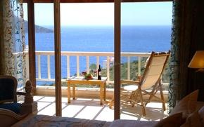 Picture sea, wine, view, table, bathroom, balcony