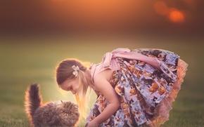 Picture girl, kitty, friends, sundress