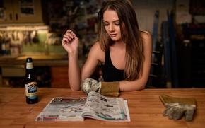 Picture girl, mechanic, gloves, workshop, journal