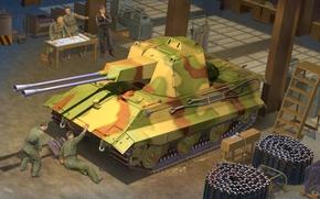 Wallpaper war, art, painting, tank, ww2, tank, E-50 FlakPanzer