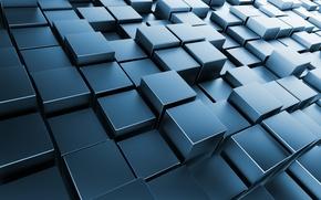 Picture Cuba, metal, square, cubes, chrome, brick