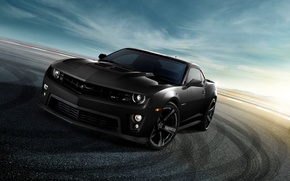 Picture the sky, clouds, black, Chevrolet, camaro, chevrolet, Camaro, zl1, tinted, зл1, black on black