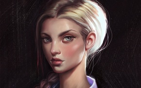 Picture look, girl, face, hair, beauty, art, braid