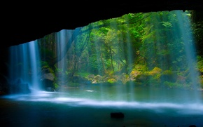 Picture forest, nature, rock, river, waterfall