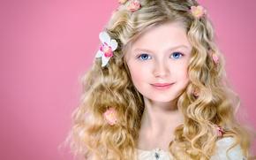 Picture flowers, hair, portrait, girl, blue eyes, curls, curls