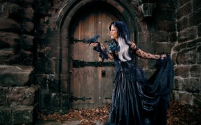 Picture leaves, girl, castle, Gothic, bird, dress, in black