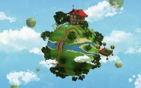 Picture bridge, house, balloon, river, planet