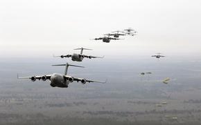 Wallpaper landing, parachute, transport