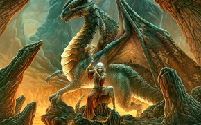 Picture girl, fantasy, dragon, Kerem Couplets, elf, rod