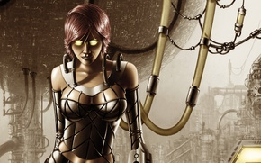 Picture eyes, look, girl, fiction, costume, cyborg, tube