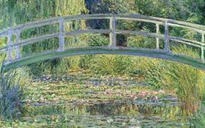 Wallpaper trees, landscape, pond, Lily, picture, Claude Monet, Japanese Bridge