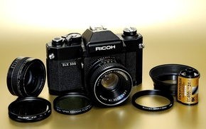 Picture background, ring, the camera, lens, mirror, film, mechanical, Rikenon 50mm F / 2, film, Ricoh …