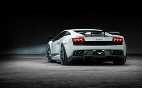 Picture white, background, tuning, Lamborghini, supercar, Gallardo, twilight, rear view, Vorsteiner, tuning, Lamborghini, Gallardo