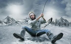 Picture winter, man, humor, fisherman, cutting, biting