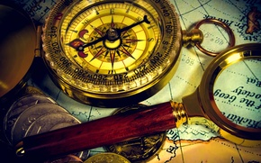 Wallpaper ancient map, ancient map, coins, magnifier, vintage, journey, coins, composition, wallpaper., bokeh, compass, blur, travel