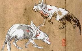 Picture figure, wolf, grey background, deity, Okami, Amaterasu
