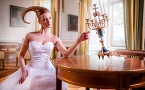 Picture girl, candles, art, hairstyle, Life They Will Treat Guests, Smart Object