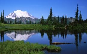 Wallpaper lake, water, mountains, nature, landscape, grass, sky nature