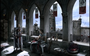 Picture girl, man, Altair, assassin, Masyaf, Assassins Creed - Altair and Adha