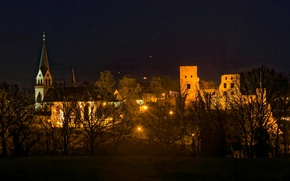 Picture lights, Germany, night, Kastellaun, home, trees, lights