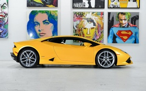 Picture Lamborghini, Yellow, Side, Studio, Picture, Supercar, Huracan, LP610-4, Ligth