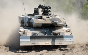 Picture sand, dust, camouflage, Main battle tank, The German armed forces, Leopard 2A6