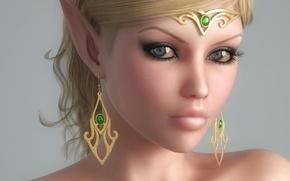Picture girl, decoration, face, elf, earrings, elf, ears, Diadema