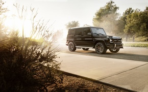 Picture Mercedes-Benz, Front, AMG, Black, Sun, Road, G63, All-terrain vehicles