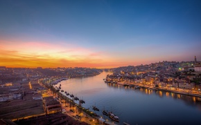 Picture bridge, the city, lights, river, dawn, Portugal, Porto