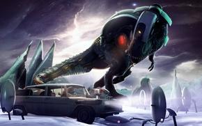Picture machine, rendering, dinosaur, astronaut, portal, fan art, T-Rex, Tyrannosaurus Rex