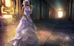 Picture girl, crown, dress, art, ears