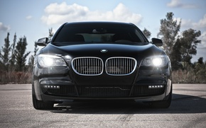 Picture the sky, clouds, BMW, BMW, black, black, 7 Series