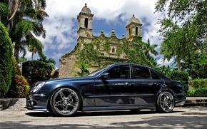 Wallpaper Mercedes, Black, Church