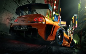 Picture orange, the city, GTR, Nissan, kit